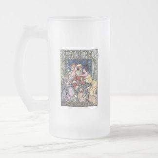 Vintage Santa Claus Frosted Glass Beer Mug