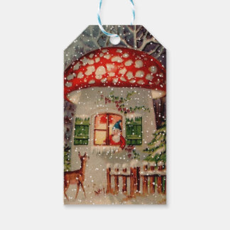 Vintage Santa Claus In A Mushroom House Gift Tags