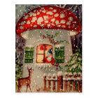 Vintage Santa Claus In A Mushroom House Postcard