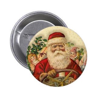 Vintage Santa Claus In Car: Buttons