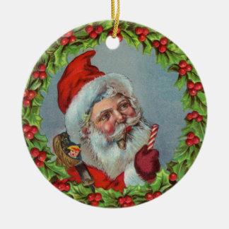 Vintage Santa Claus in Wreath Ornament