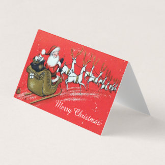 Vintage Santa Claus on his Sleigh with Reindeer Card