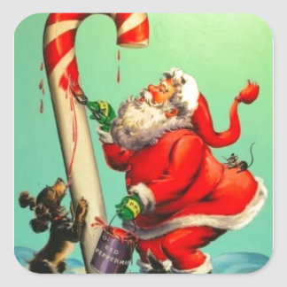Vintage Santa Claus Painting A Candy Cane Square Sticker