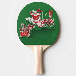 Vintage Santa Claus Peppermint Candy Train Ping Pong Paddle