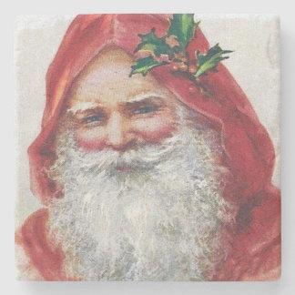 Vintage Santa Claus Portrait Christmas Stone Coaster