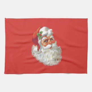 vintage santa claus portrait tea towel