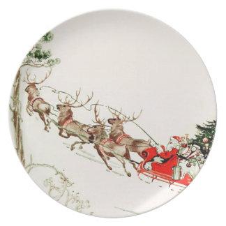 Vintage Santa Claus Reindeer Sleigh Christmas Eve Plate