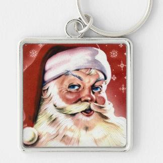 Vintage Santa Claus Silver-Colored Square Key Ring