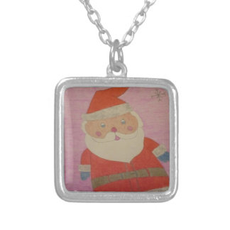 Vintage Santa Claus Silver Plated Necklace
