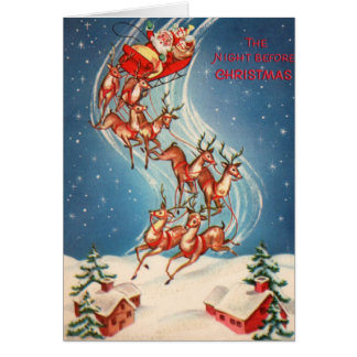 Vintage Santa Claus Sleigh and Reindeer Flying Card
