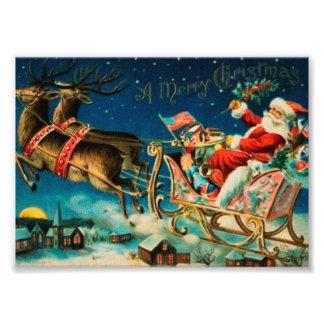 Vintage Santa Claus Sleigh Christmas Holiday Photo Print