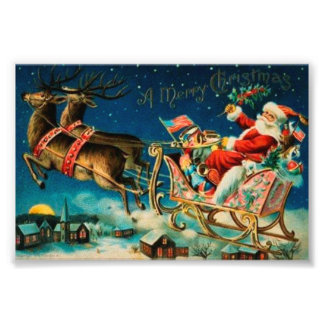 Vintage Santa Claus Sleigh Christmas Holiday Photographic Print