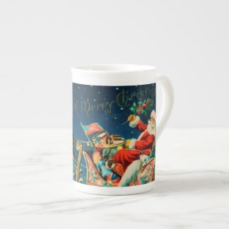 Vintage Santa Claus Sleigh Christmas Holiday Tea Cup