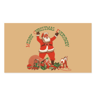Vintage Santa Claus Toys Merry Christmas Everybody Business Cards