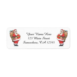 Vintage Santa Claus, Victorian Christmas die cut Return Address Label