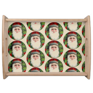 Vintage Santa Claus With Holly Xmas Serving Tray