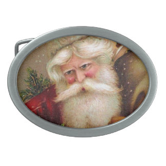 Vintage Santa Claus with Sack full of Toys Oval Belt Buckles