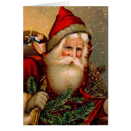 Vintage Santa Claus with Walking Stick Card