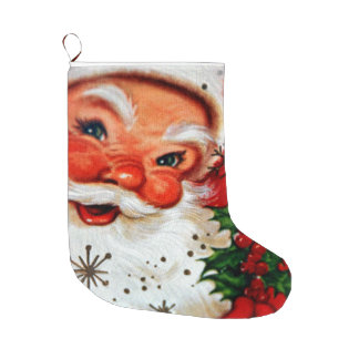 Vintage Santa Clause Christmas Stocking