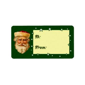 Vintage Santa Clause Present Gift Tag Address Label