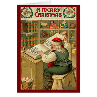 Vintage Santa Country Merry Christmas Holiday Card