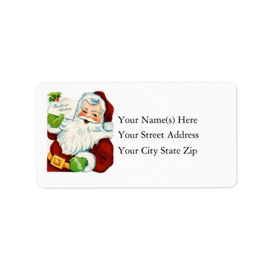 Vintage Santa Delivers Christmas Wishes Address Label