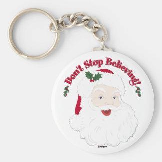 Vintage Santa Don't Stop Believing! Key Chain