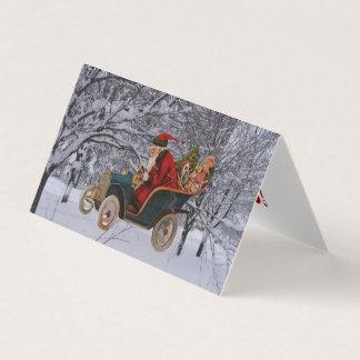 Vintage Santa Driving in a Modern Snow Scene Cards