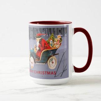 Vintage Santa Driving in a Modern Snow Scene Mug