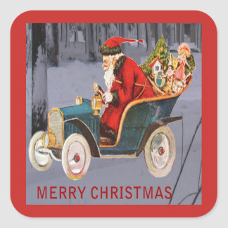 Vintage Santa Driving, Modern Snow Scene Sticker