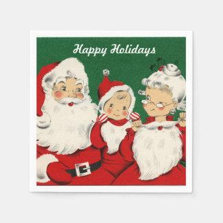Vintage Santa Family Holiday Disposable Napkins