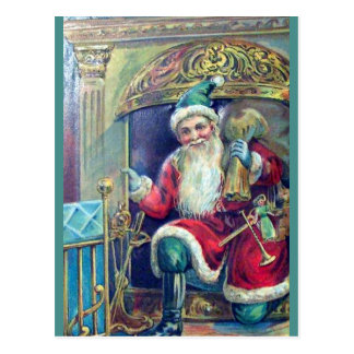 Vintage Santa & Fireplace (copy) Beautiful Unusual Postcard