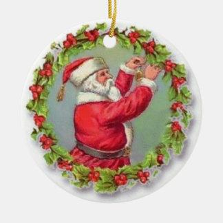 Vintage Santa Fixing a Wreath Christmas Ornaments