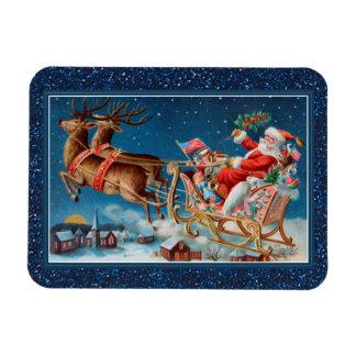 vintage santa flying sleigh flex magnet