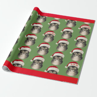 Vintage Santa Hat Cat Art Wrapping Paper