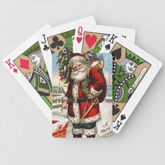Vintage Santa Holiday Green Bicycle Playing cards