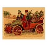 Vintage Santa in automobile Post Card