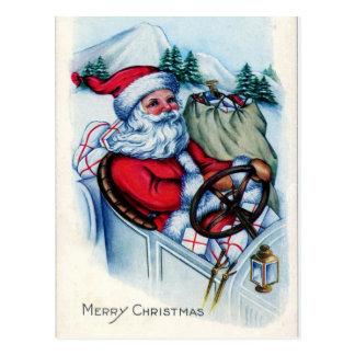 Vintage Santa in Car Postcard