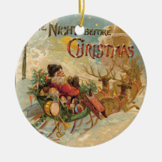 Vintage Santa in his reindeer sleigh Ceramic Ornament