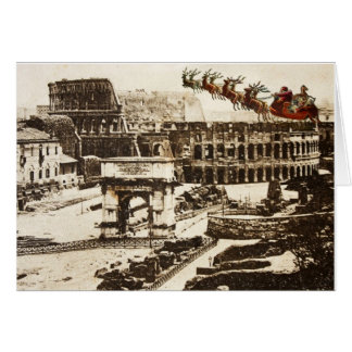 Vintage Santa in Rome Italy Christmas Card