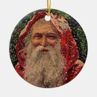 Vintage Santa in Snow - Ornament