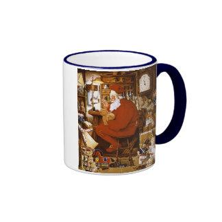 Vintage Santa in Workshop Card Ringer Coffee Mug