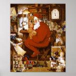 Vintage Santa in Workshop Card Print