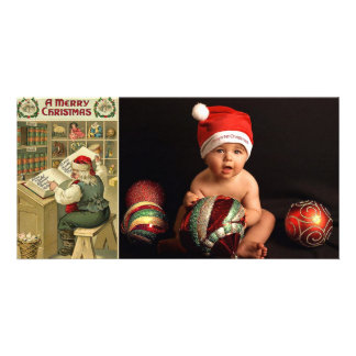 vintage santa list photo cards