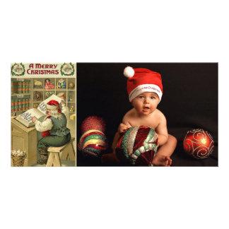 vintage santa list photo cards