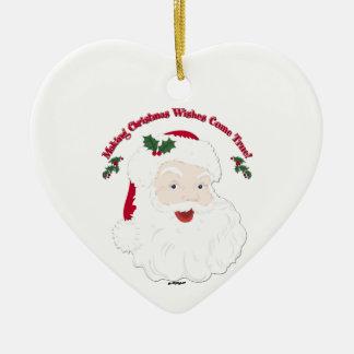Vintage Santa Making Christmas Dreams Come True! Ceramic Heart Decoration