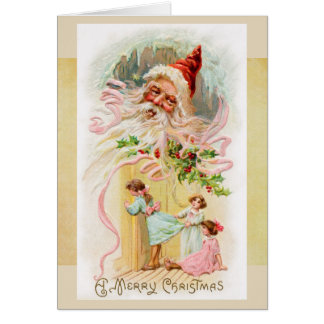 Vintage Santa on Christmas Morning Card