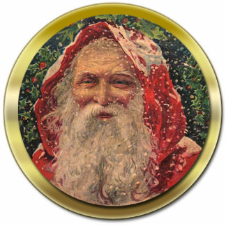 Vintage Santa Ornament Photo Sculpture Decoration