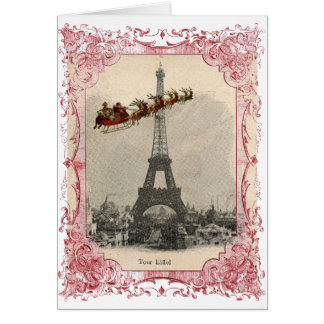 Vintage Santa over Paris Christmas Card