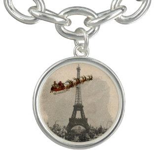 Vintage Santa over Paris Christmas Charm